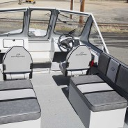 Open layout with storage benches and folding front seats